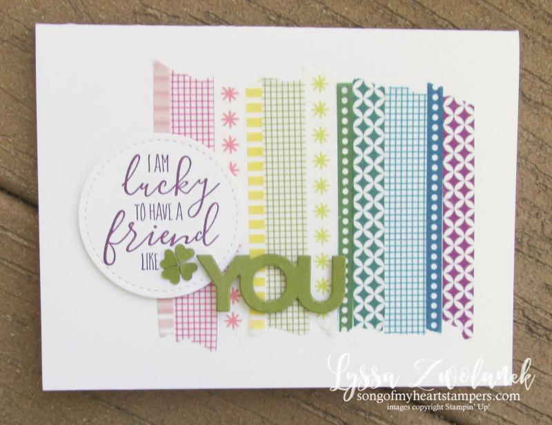 Mini shamrock rainbow st patricks day washi tape card Stampin Up Lyssa