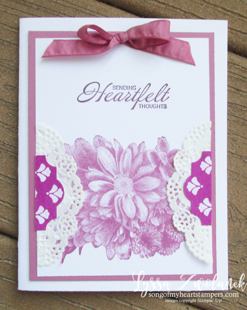 Heartfelt Blooms lace paper doilies techniques tutorial Stampin Up free layout Lyssa Berry Sugarplum