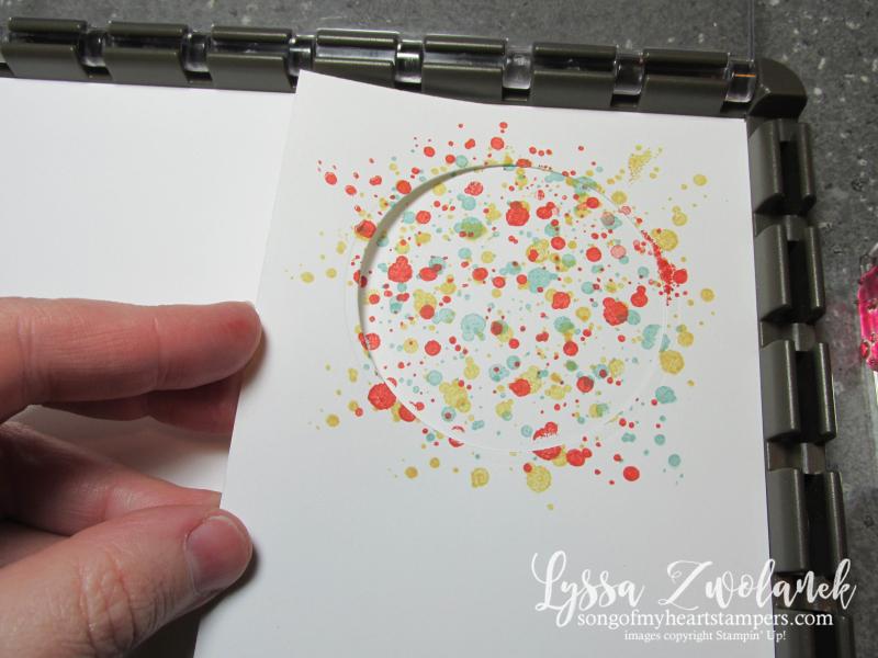 Swirly bird spatter technique circle diecut stencil stamparatus mask stampin up tutorial Lyssa