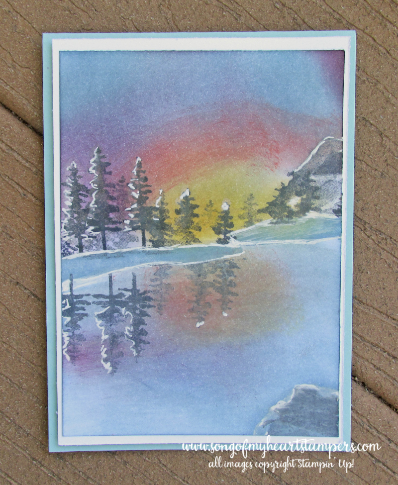 Waterfront winterscape snow pine trees lake frozen sunset card technique