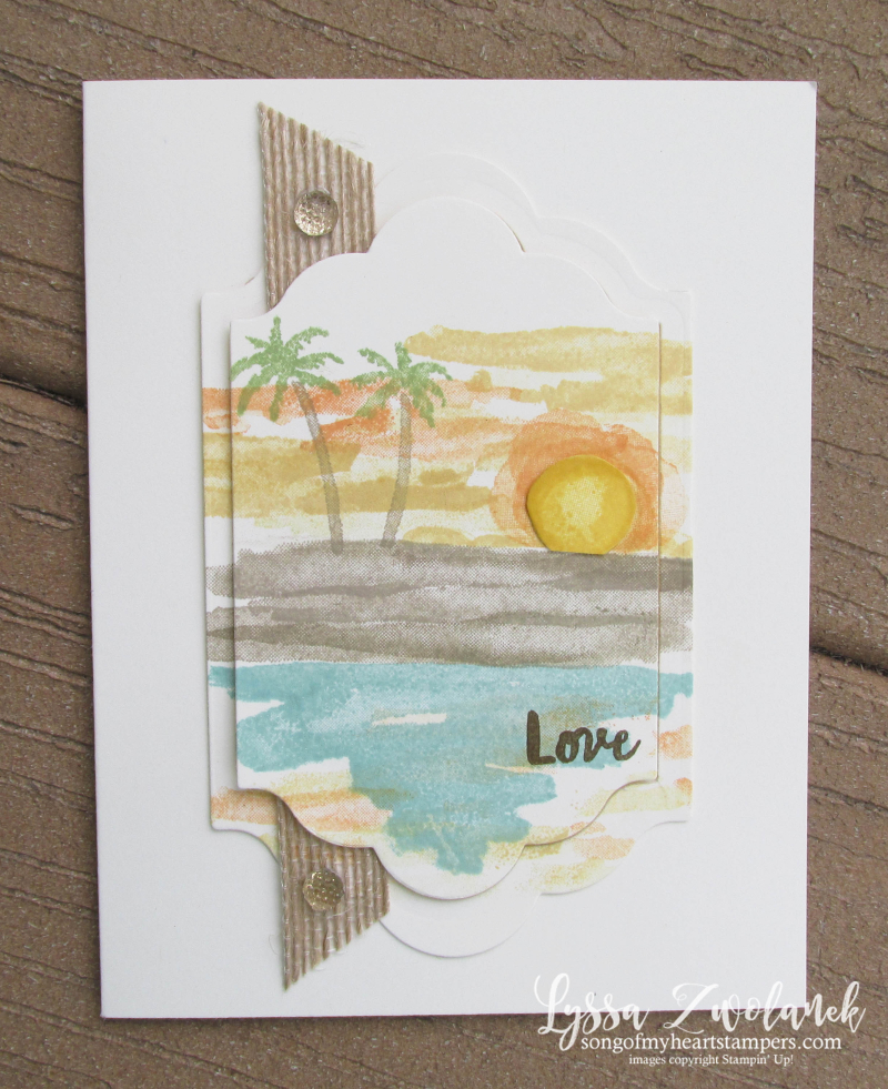 Waterfront beach mountains shore palm trees stamps Stampin Up layouts Lyssa shop Now