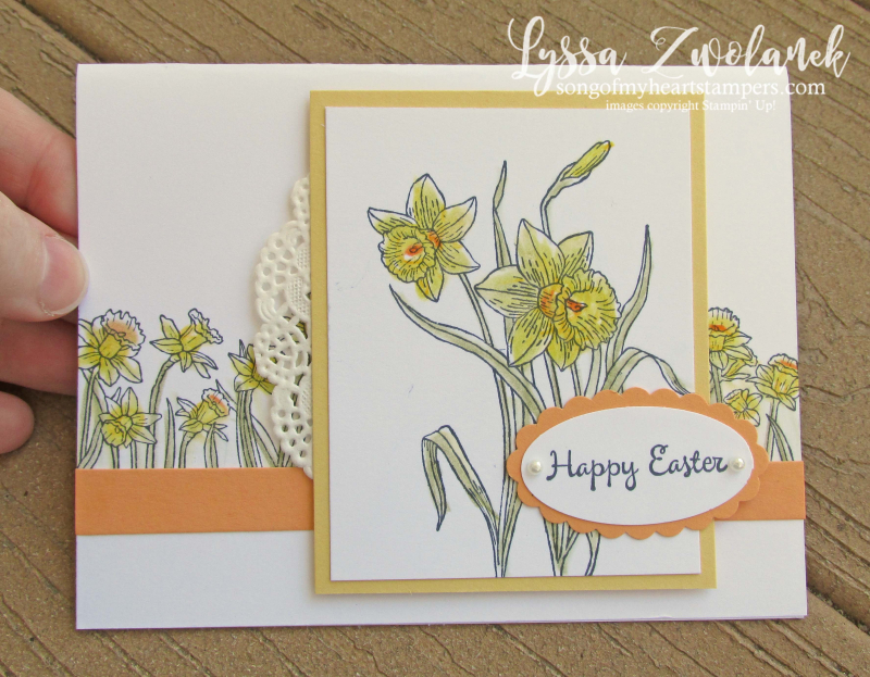 Daffodil inspiring mohers day spring flowers birthday Stampin Up rubber stamps