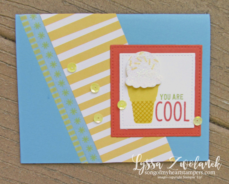 Treats cool ice cream stampin up cone rubber stamps glitter paste sundae sizzix diecut Lyssa