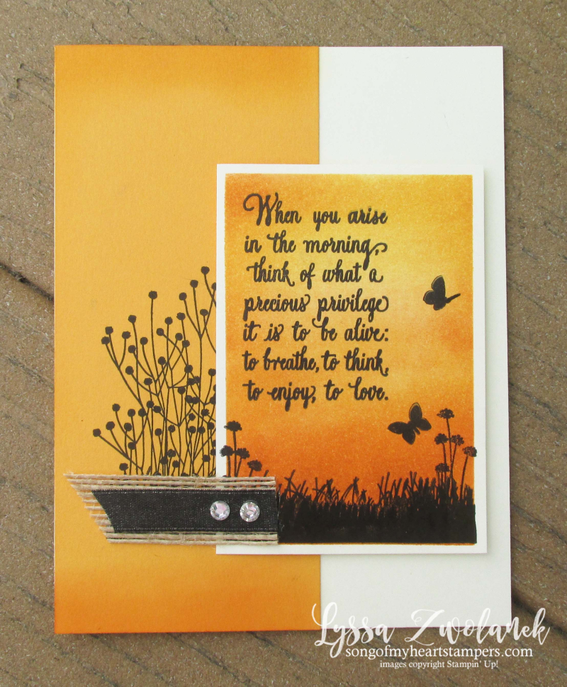 Enjoy life sunrise silhouette card Mango Melody Stampin Up Shop with Lyssa