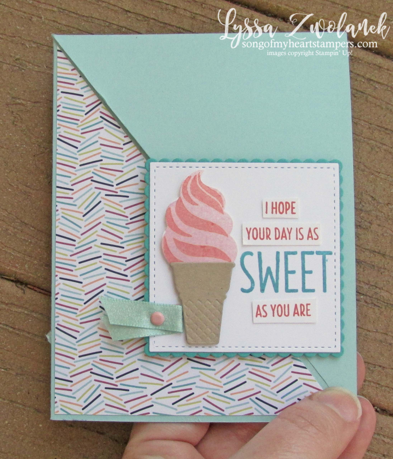 Cool Treats ice cream rubber stamps popsicles Sizzix Stampin Up summer cones class technique diagonal opening