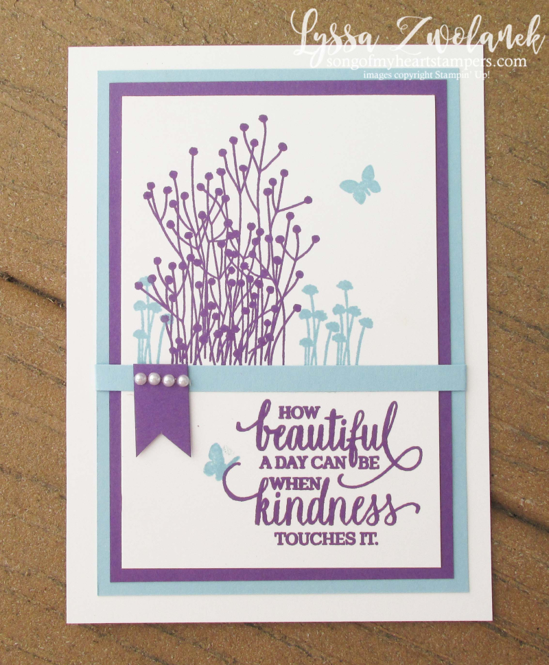Enjoy Life wildflowers Gorgeous Grape Blamy Blue new Stampin Up colors revamp Lyssa DIY cardmaking