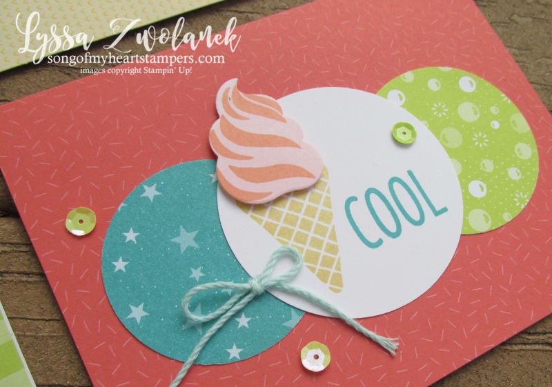 Cool Treats tutti frutti notecards Stampin' Up sizzix dies ice cream cone popsicle stamps