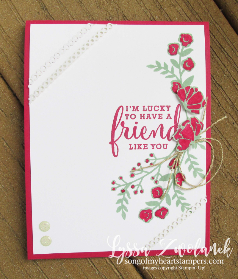 Share what you love roses floral spray swag stamp stampin up Lyssa techniques cardmaking