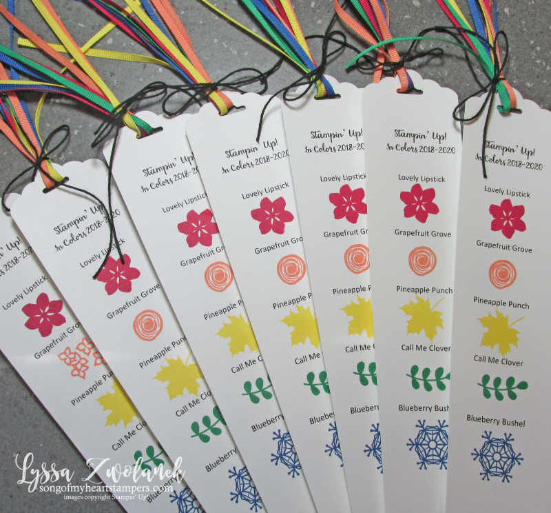 New color bookmarks incolor stampin up 2018 19 20 ribbon sampler