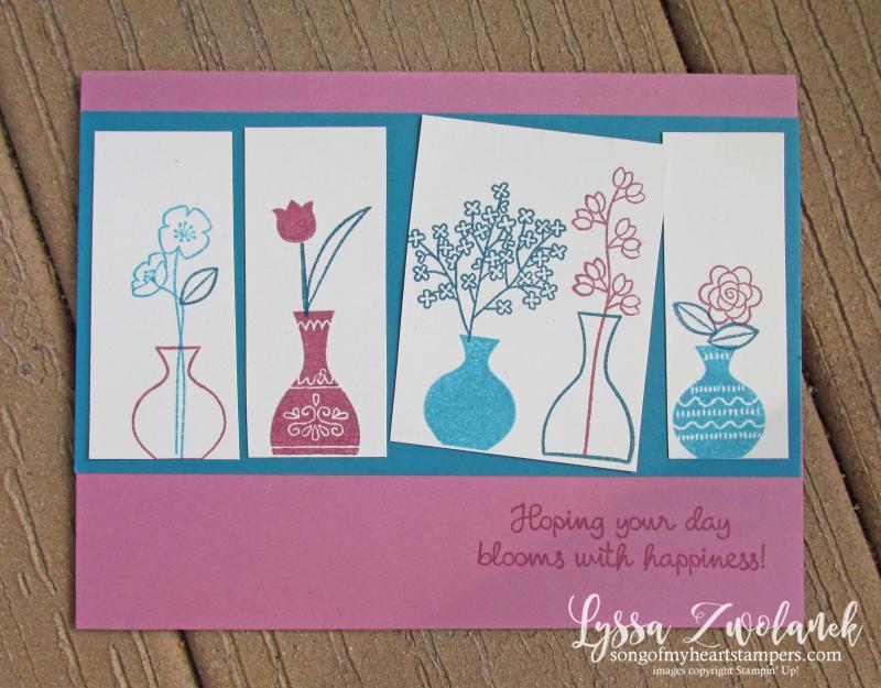 Vivid vases varied vase flowers stems floral Stampin Up rubber stamps shop Lyssa