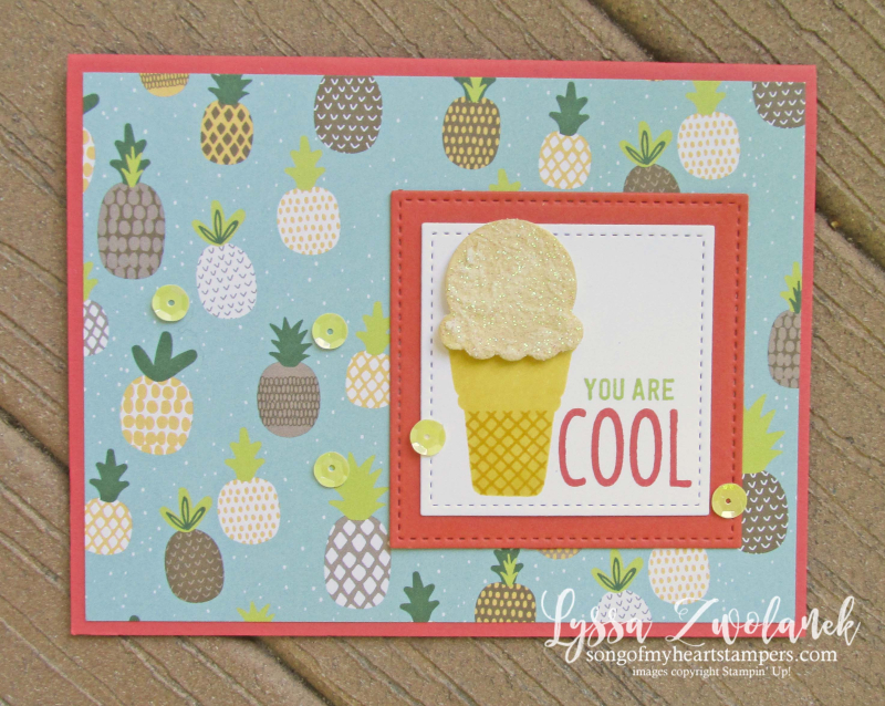 Treats cool ice cream stampin up cone rubber stamps glitter paste sundae sizzix diecut Lyssa