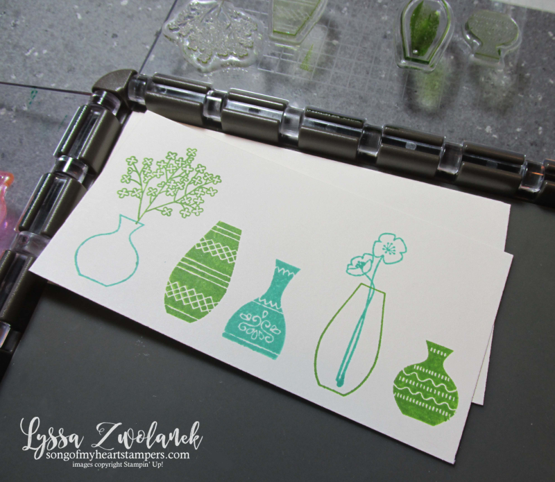 Varied Vases vivid punch art bundle Stampin Up stamparatus technique tips Lyssa