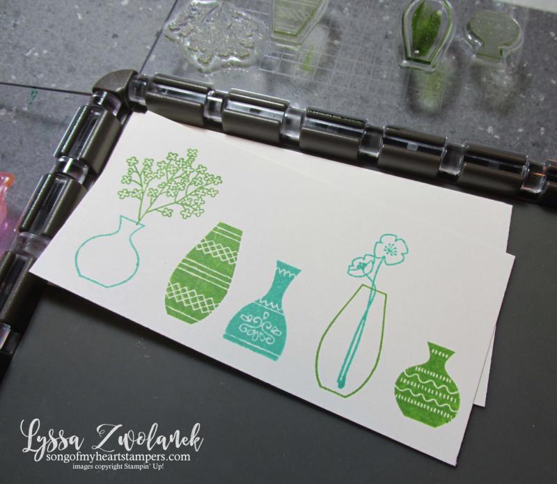Varied Vases vivid punch art bundle Stampin Up stamparatus technique tips Lyssa