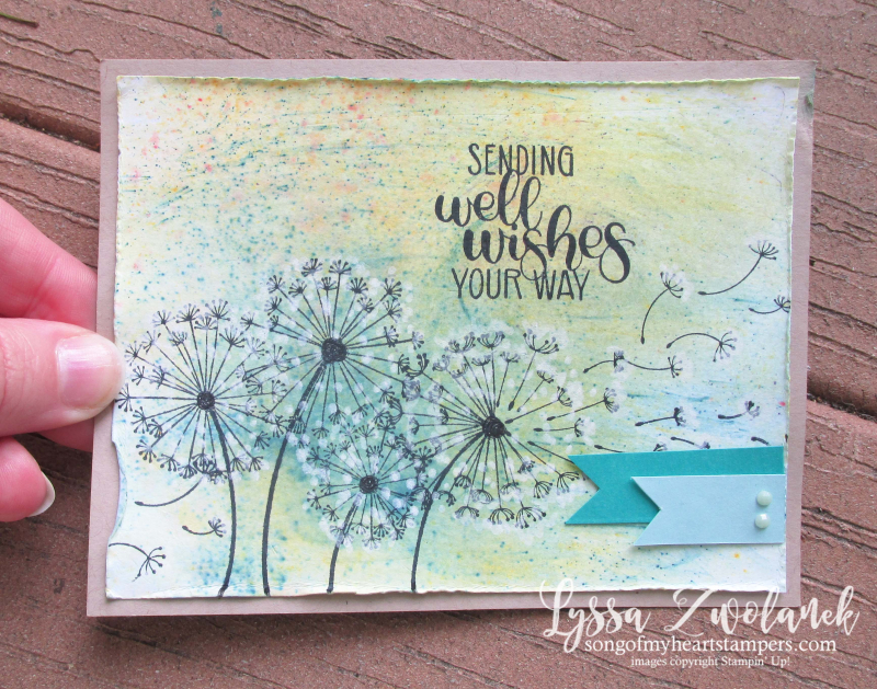 Dandelion wishes stampin up stamp set Lyssa brusho background technique chalk marker