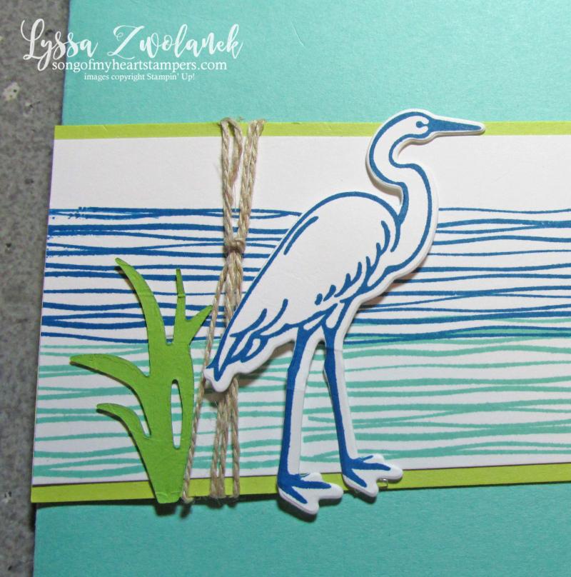 Lilypad Lake heron stamp set river rubber Stampin Up Lyssa