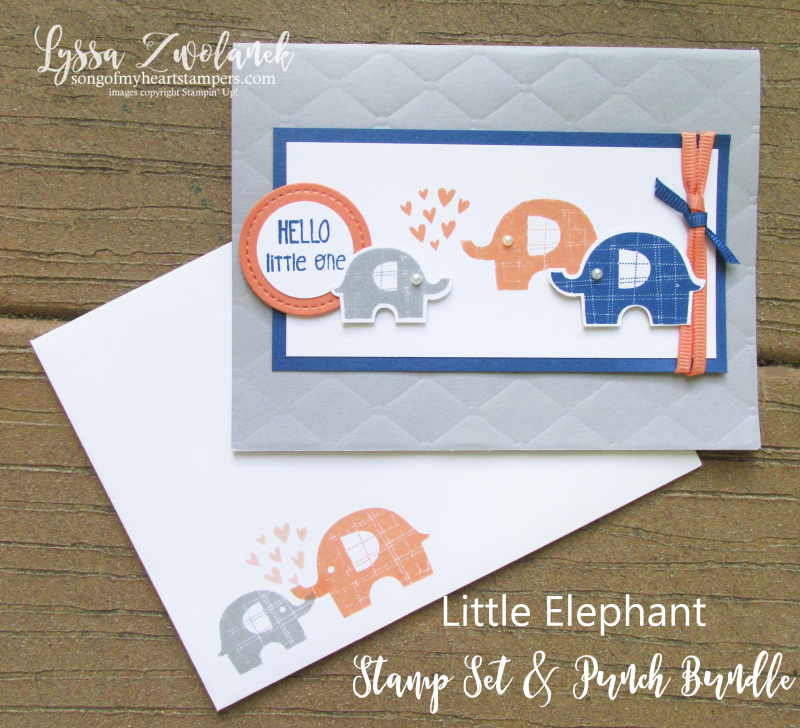 Little elephant bundle builder punch Stampin Up baby congrats shower invite announcements cards