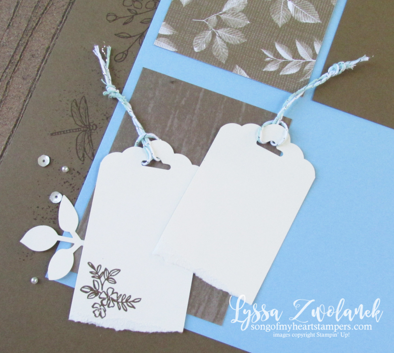 Natures poem touches 12x12 scrapbook layout scalloped tag topper Lyssa Stampin up leaf punch