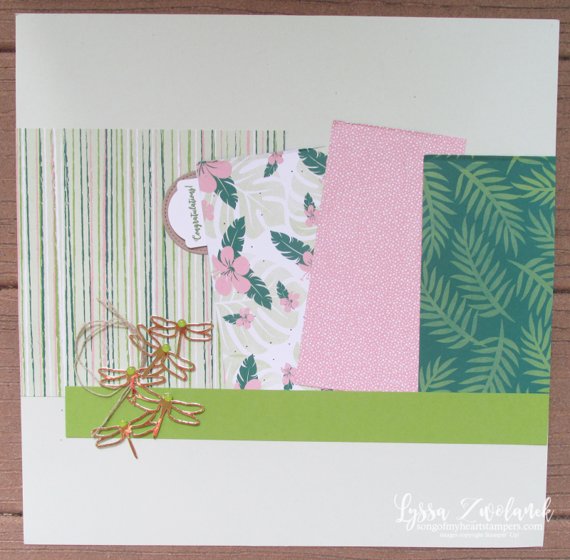 Dragonfly dreams scrapook layout 12x12 stampin up page Lyssa Tropical Escape Chic