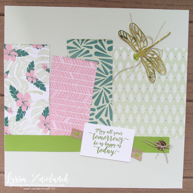 Dragonfly dreams scrapook layout 12x12 stampin up pages Lyssa Tropical Escape Chic