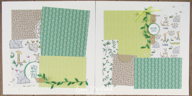Wild about you animal outing zoo baby pages layouts stampin up 12x12