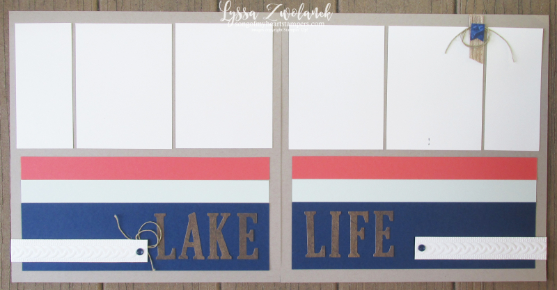 Lake life cable knit deck chair vacation scrapbook pages layout Stampin up