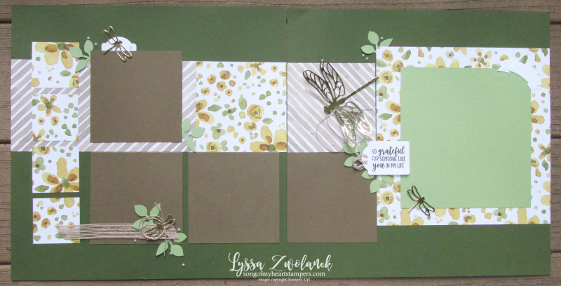 Dragonfly garden scrapbook layouts sizzix big shot pages 12x12 Stampin Up