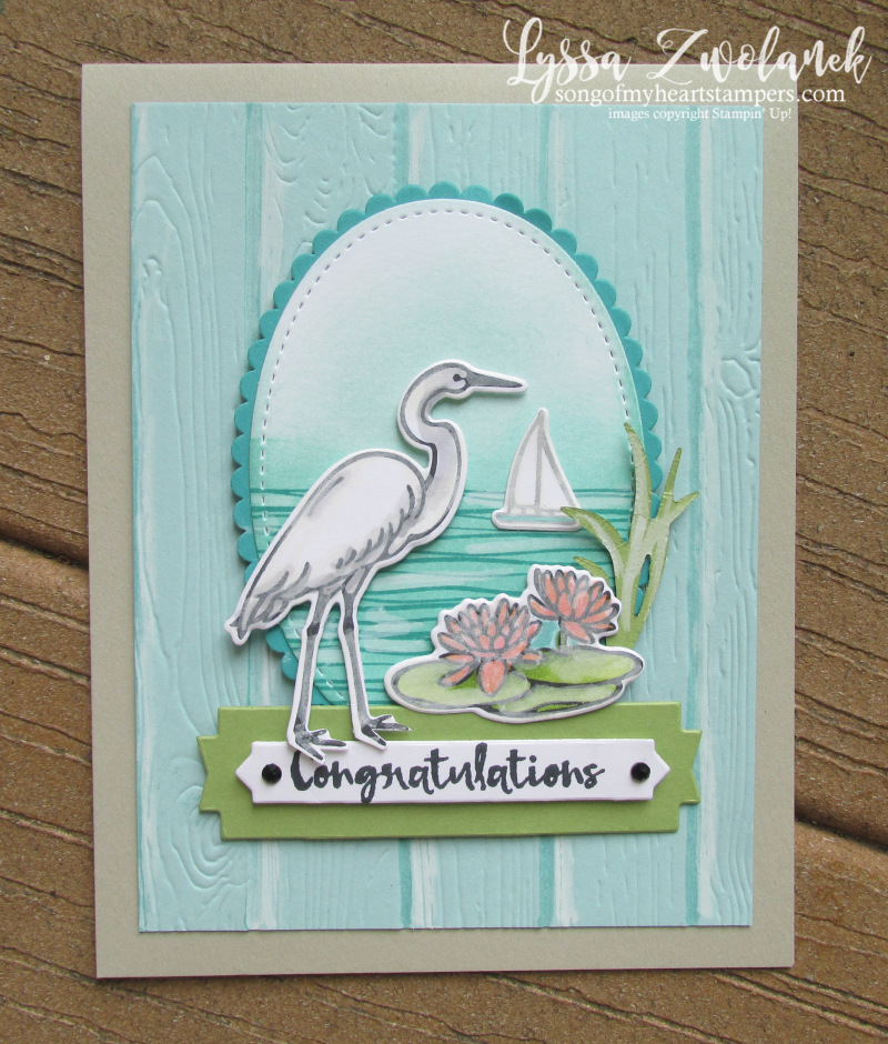 Lilypad Lake stampin up waterlily stork heron crane sunrise stamps