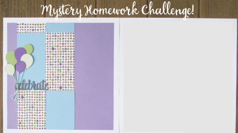 Mystery second page challenge birthday layouts scrapbook stampin up pages