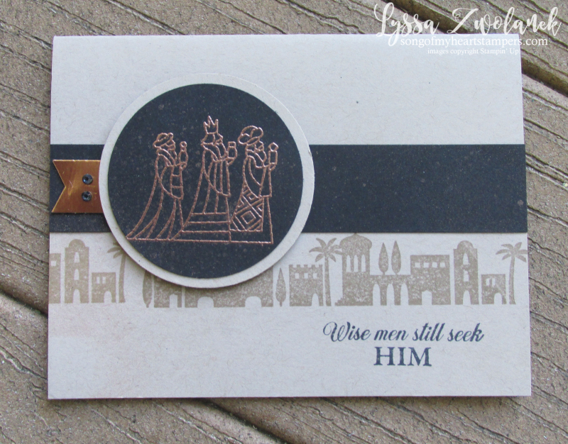Illuminated Christmas wise men stamp bethlehem skyline night copper shimmer spray Stampin Up card