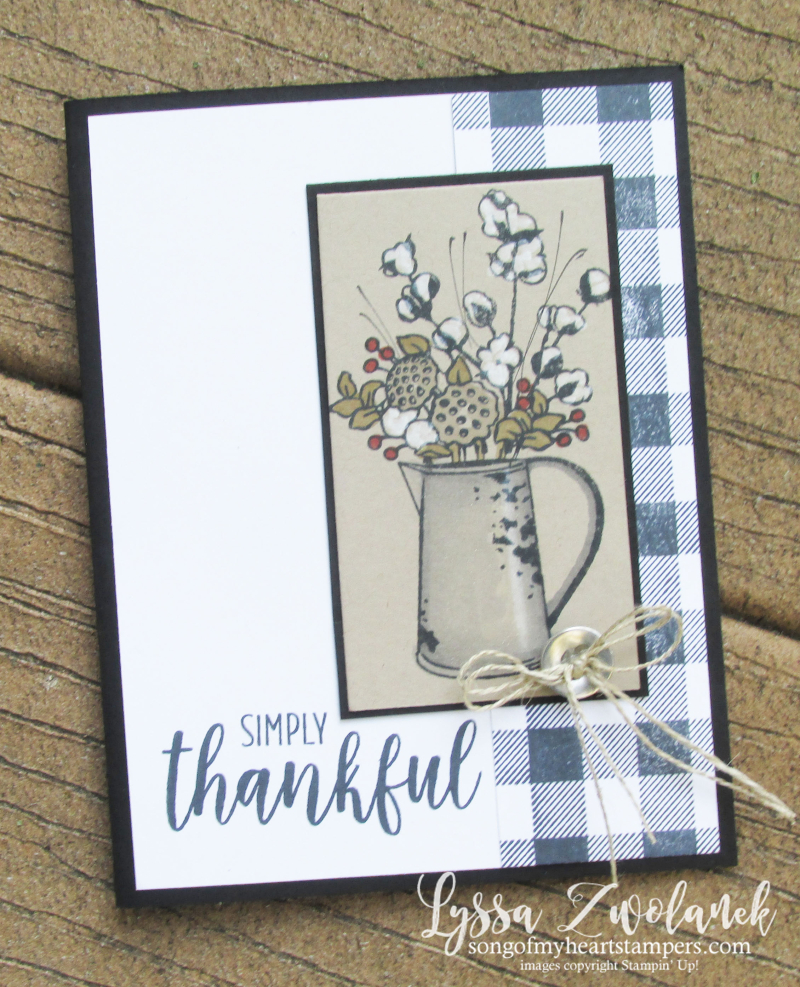 Buffalo check plaid background wool cotton bolls farmhouse style Joanna Gaines Stampin' Up