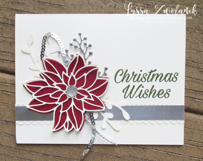 Peaceful Poinsettia detailed thinlets Christmas holiday cardmaking stampin up sizzix silver