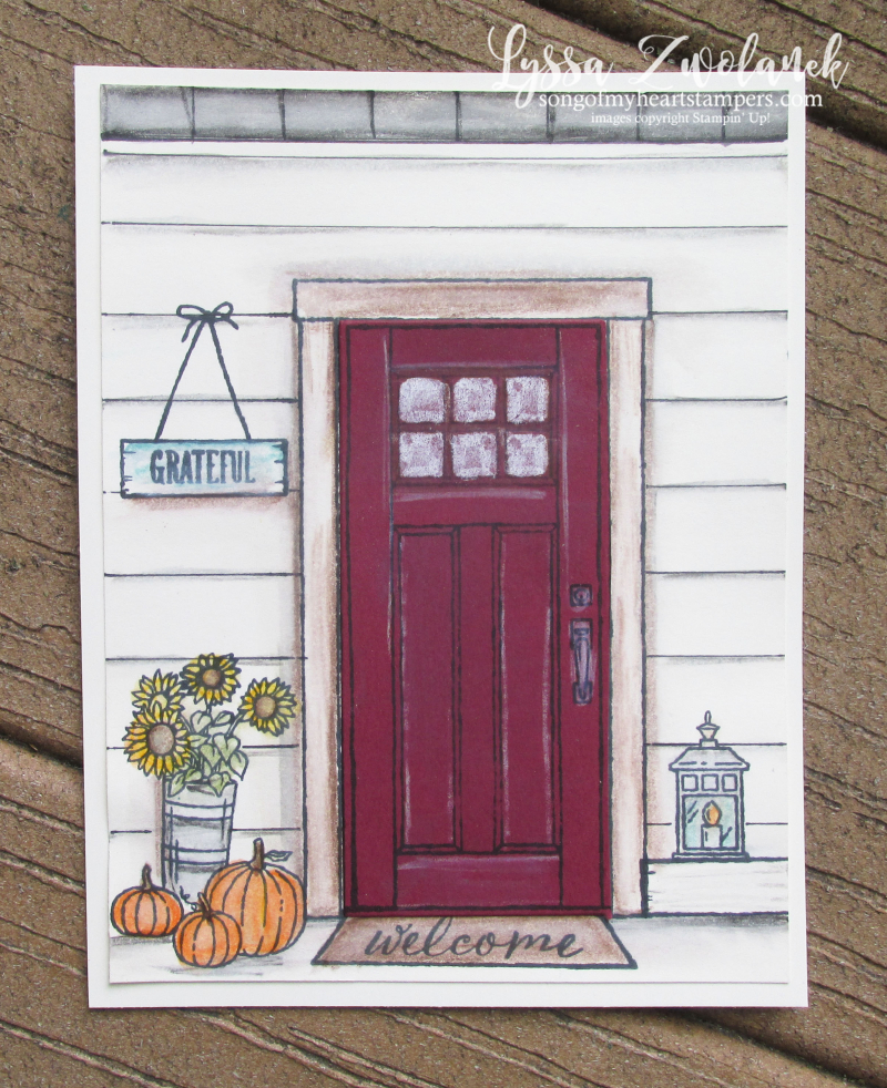 At home with You stampin Up door house pumpkins porch Sizzix framelits