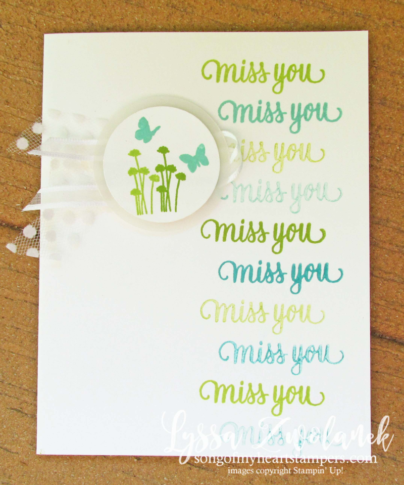 Enjoy Life miss you butterflies spring stamparatus Stampin Up DIY stamps card