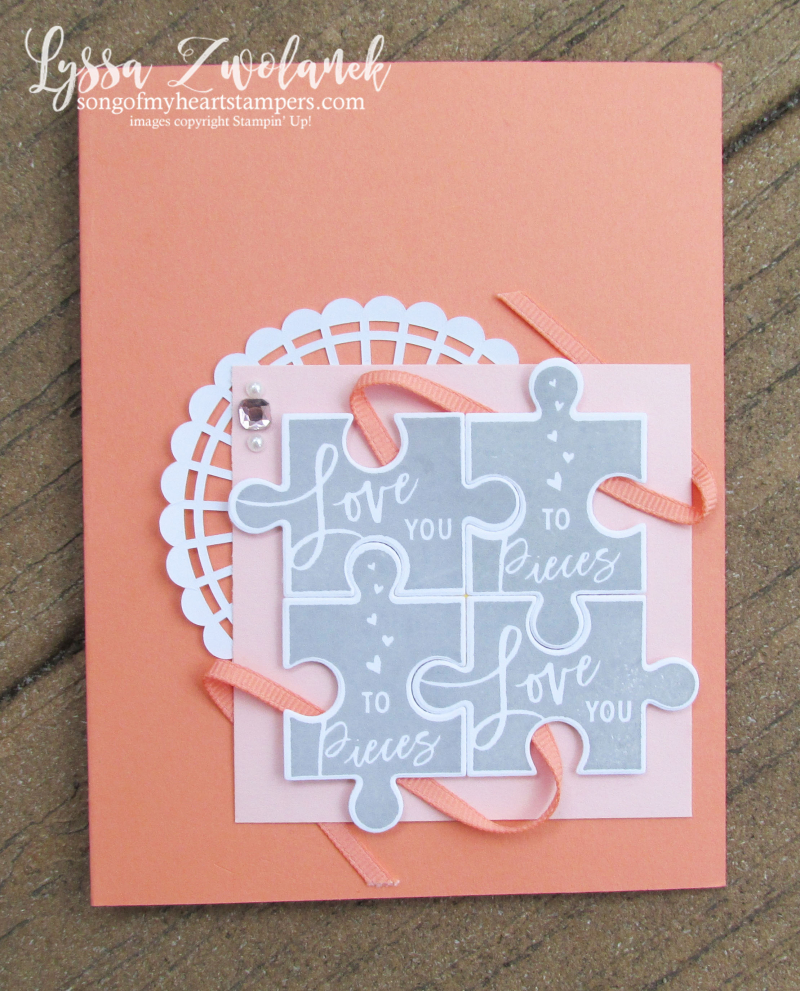 Love pieces puzzle stampin up rubber stamps wedding anniversary card DIY cardmaking