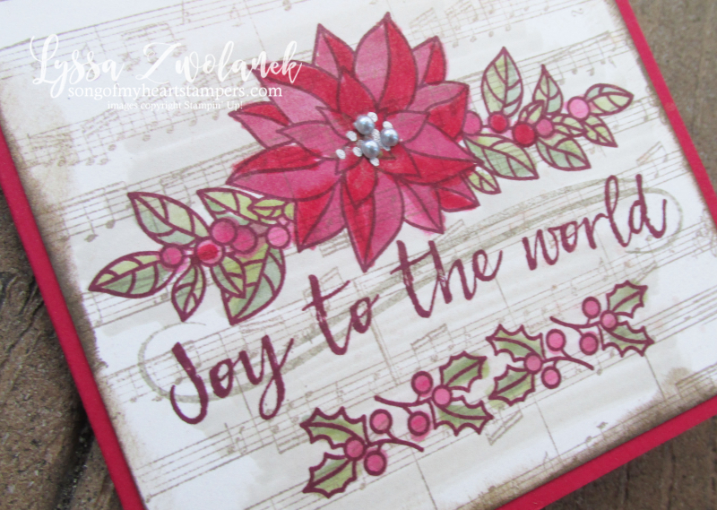 Peaceful poinsettia christmas holiday sheet music rubber stamps joy world Stampin Up