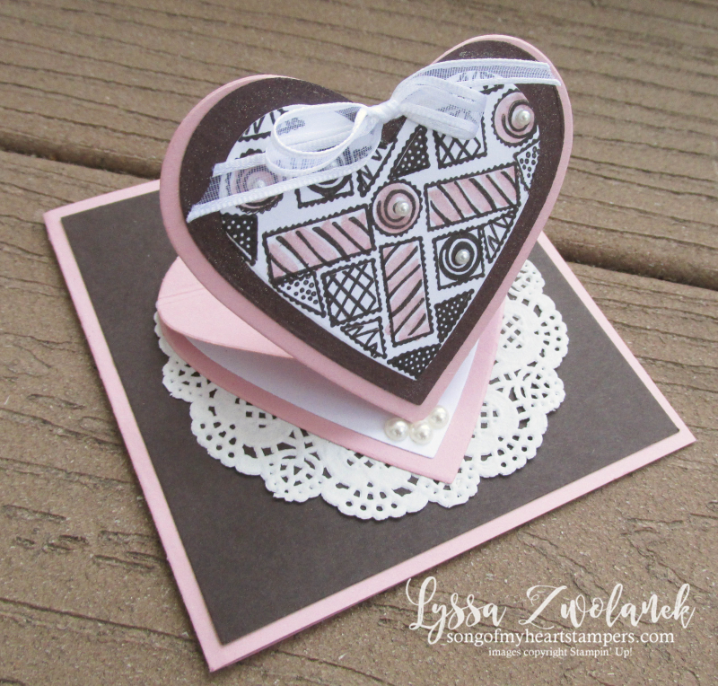 Pop Up heart valentine chocolate box More than love Stampin Up stamps