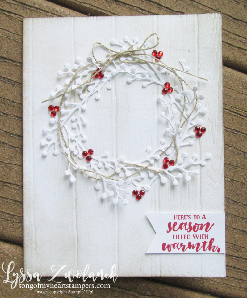 First frost frosted floral bouquet Stampin Up holiday wreath berries winter roses Christmas wedding