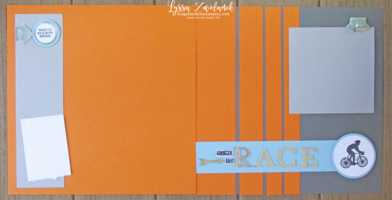 Cycling page scrapbook bike race racing bicycle layout Stampin Up Lyssa