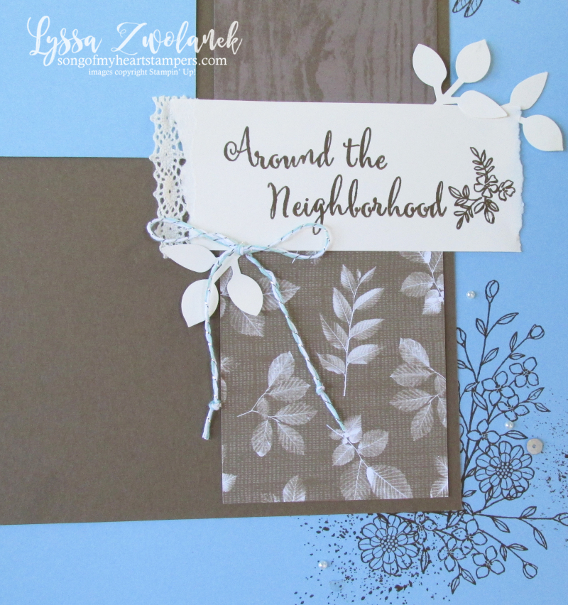 Natures poem touches 12x12 scrapbook layout neighborhood Lyssa Stampin up leaf punch