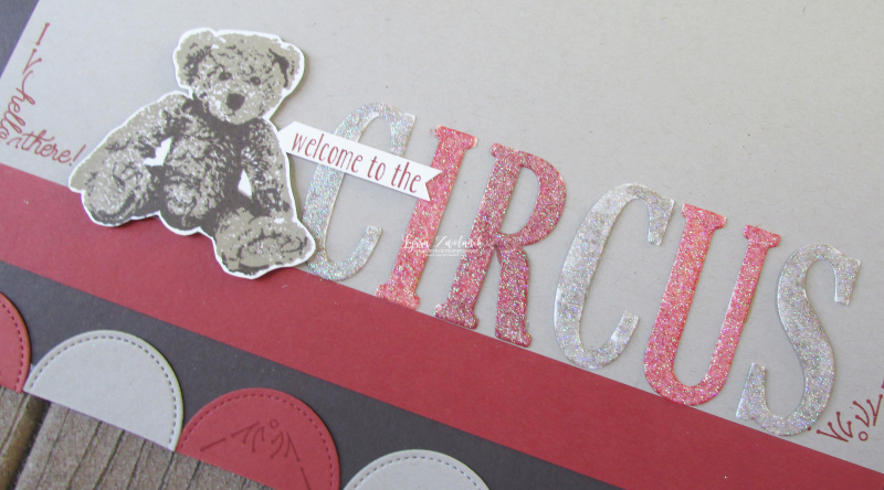 Teddy bear circus scrapbook pages layouts scrapbooking Stampin Up Lyssa