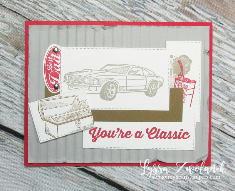 Classic garage car stamps vintage masculine antique dad father rubber stamping DIY Stampin up
