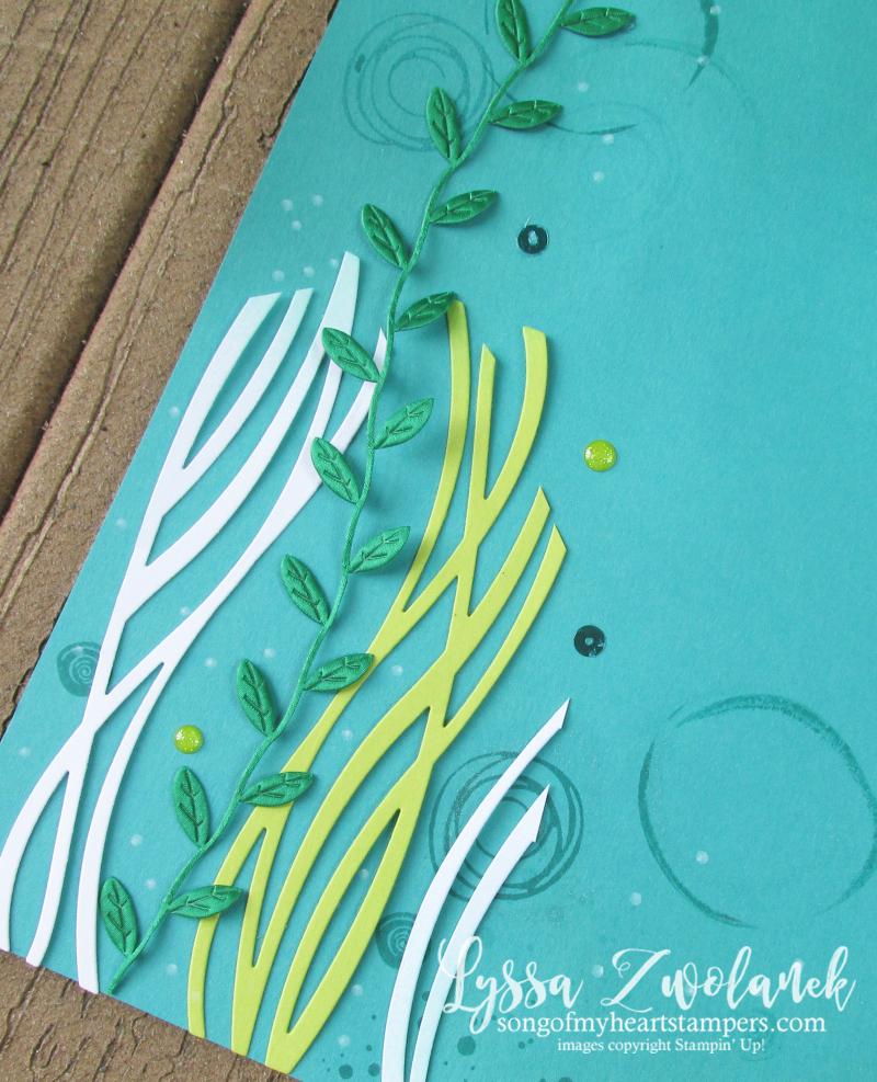 Seaweed under the sea scrapbook layout pool ocean mermaid leaf trim Stampin Up 12x12 layout