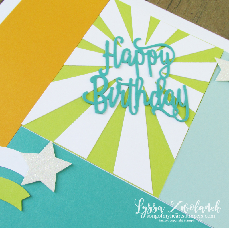 Happy birthday rockstar punch box scrapbook page 12x12 stampin up