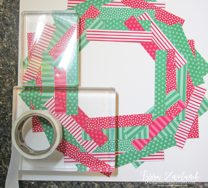 Paper scraps layout 12x12 scrapbooking christmas wreath layouts Lyssa Stampin up
