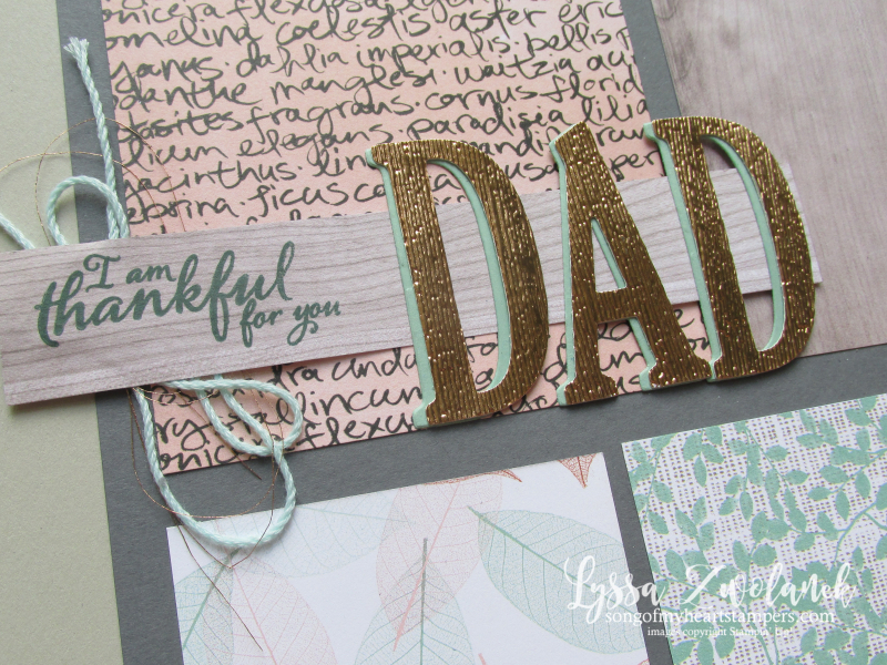 Thankful for dad scrapbook page nature touch layout12x12 textures Stampin Up