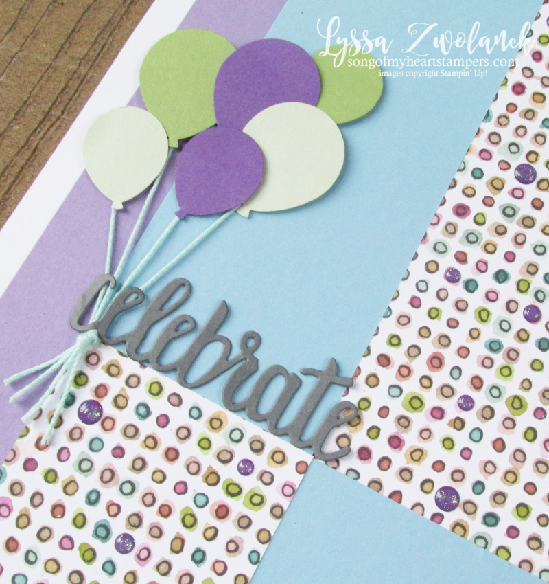 Mystery second page challenge birthday layout scrapbook stampin up Lyssa balloons pages