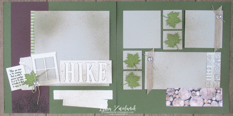 Hiking walk woods enjoy life stampin up 12x12 scrapbook pages