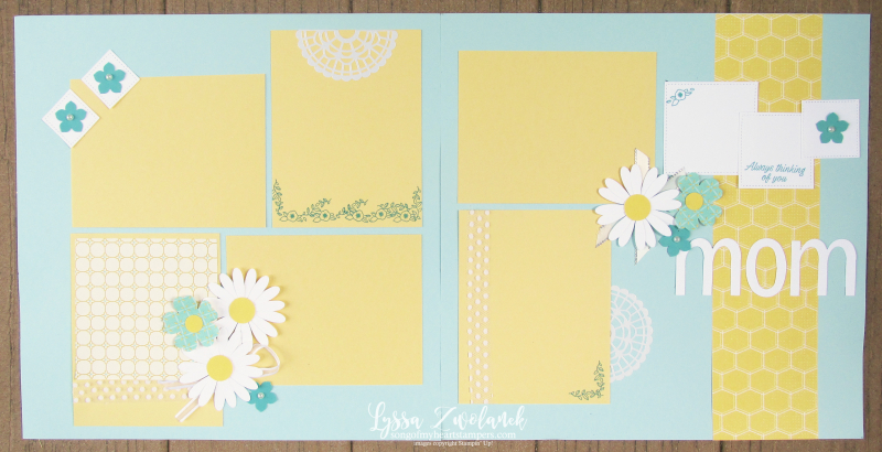 Mom love daisy pansy punc art pages stampin up scrapbooking layouts free Lyssa doily
