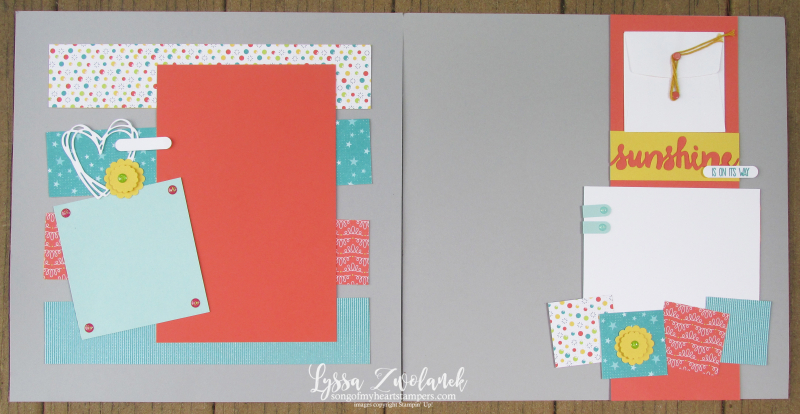 Sunshine wishes layout scrapbooking pages Stampin Up 12x12