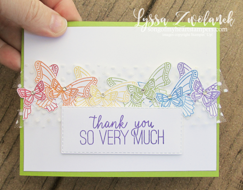 Butterfly gala punch bundle stamps Stampin Up butterflies tutorial class Lyssa fancy fold rainbow